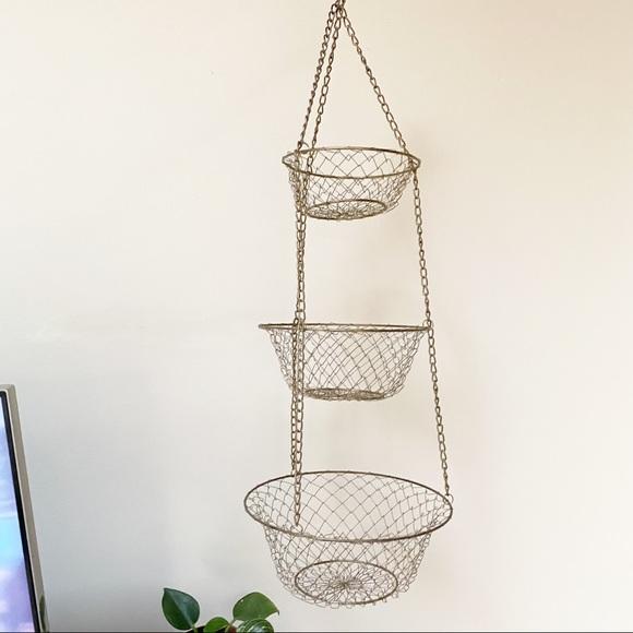 Gold Metal Hanging Tiered Produce Basket Storage